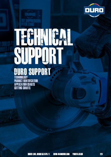 Duro technical support - terminology, product identification, application charts & cutting charts